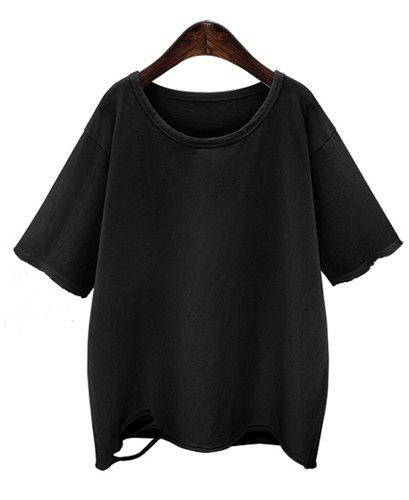 Casual Scoop Neck Solid Color 1/2 Sleeve Broken Hole T-Shirt For Women - BLACK 3XL
