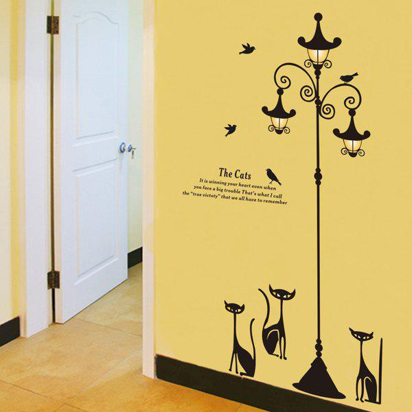 Chic Cartoon Cat Street Lamp Pattern Removeable Wall Sticker