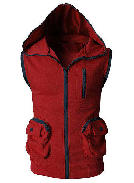 Hooded Color Block Splicing Stereo Pocket Sleeveless Men's Waistcoat - RED 2XL
