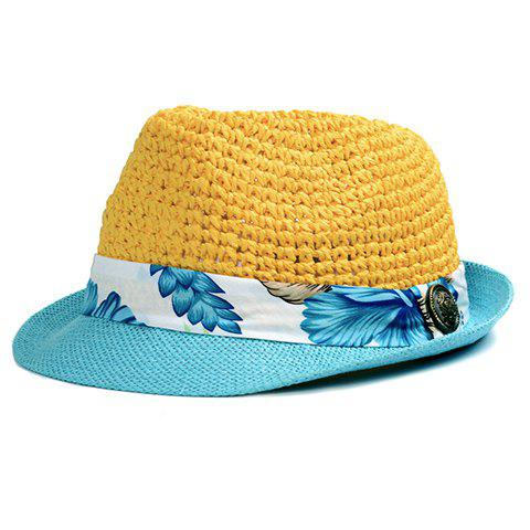 Chic Tropical Floral Pattern Band Embellished Straw Hat For Women - YELLOW