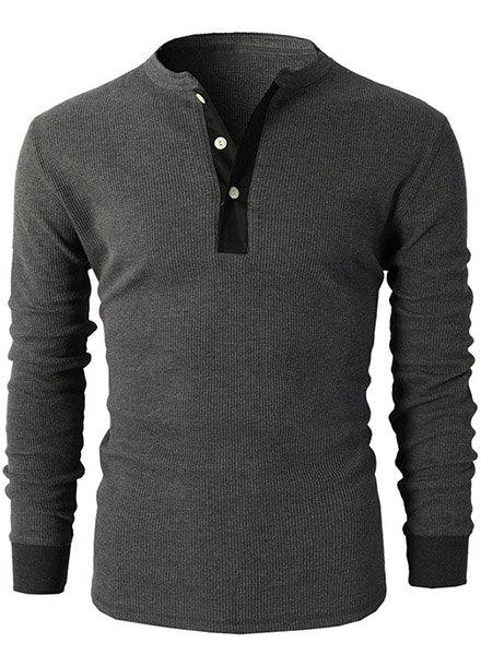 Modish Round Neck Button Embellished Long Sleeve Men's T-Shirt