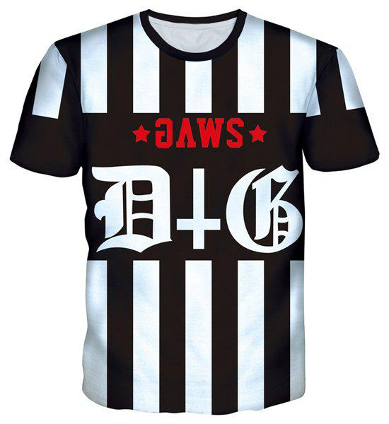 Special Letters Print Hit Color Round Neck Striped T-Shirt For Men
