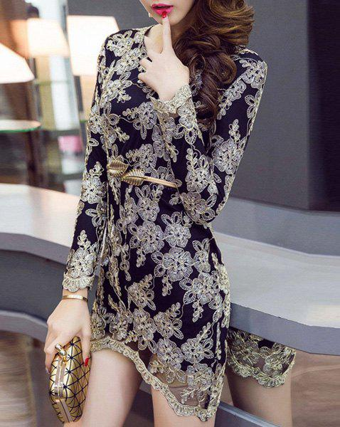 Noble Long Sleeve Golden String Lace Design Belted Dress For Women