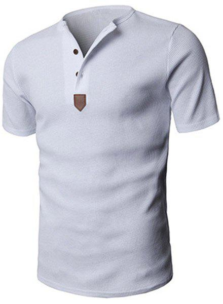 Modish Round Neck PU-Leather Splicing Button Embellished Long Sleeve Men's T-Shirt - WHITE M
