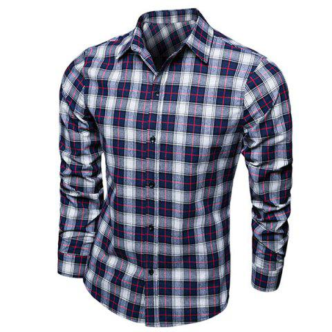 Fashion Turn-down Collar Color Block Plaid Men's Long Sleeves Shirt - CHECKED L