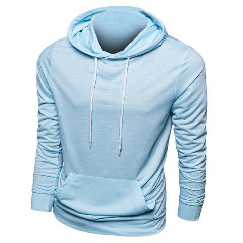 Casual Hooded Front Pocket Solid Color Men's Long Sleeves Hoodie - LIGHT BLUE L