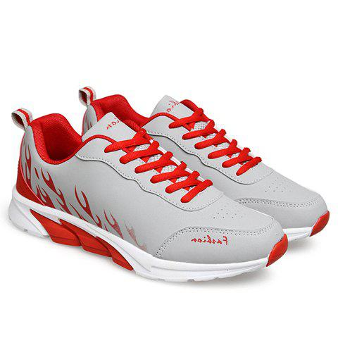 Stylish Flame Print and Lace-Up Design Men's Athletic Shoes - GRAY 42