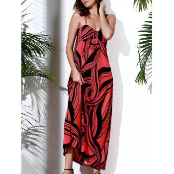 Bohemian Style Spaghetti Strap Printed High Waist Maxi Dress For Women