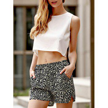 Sexy Round Neck Sleeveless Tank Top + Elastic Waist Shorts Women's Twinset
