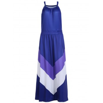 Brief Women's Halter Color Block Floor-Length Sleeveless Dress