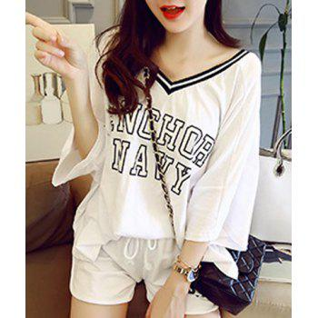 Stylish V-Neck Letter Pattern 3/4 Sleeve T-Shirt + Drawstring Shorts Women's Twinset