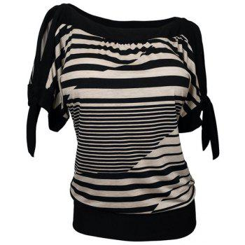 Loose Striped Short Sleeve Women's Plus Size T-Shirt