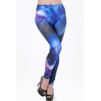 Active High Waist Galaxy Print Skinny Yoga Pants For Women