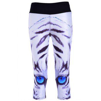 Active Eyes Print Skinny Capri Leggings For Women