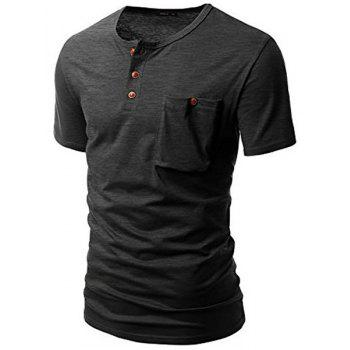 One Pocket Multi-Button Round Neck Short Sleeves Men's T-Shirt - GRAY GRAY
