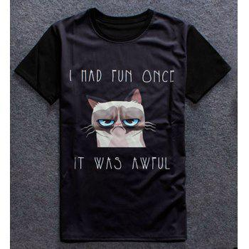 Funny 3D Cartoon Cat Print Round Neck Short Sleeves Men's T-Shirt