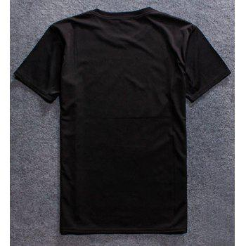 Round Neck 3D Earth Print Short Sleeves Men's Funny T-Shirt - BLACK 2XL