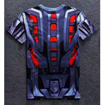 3D Robot Print Round Neck Short Sleeves Men's T-Shirt - COLORMIX L