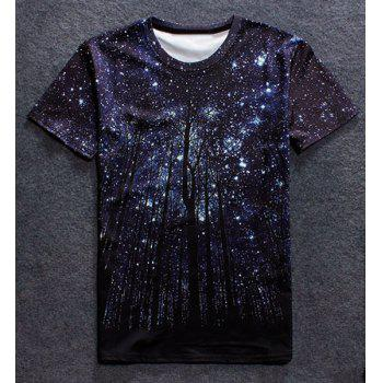 Vogue Round Neck 3D Starry Sky Tree Print Men's Short Sleeves T-Shirt