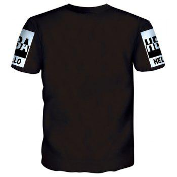 Vogue Round Neck Letters Print Men's Short Sleeves T-Shirt - BLACK M