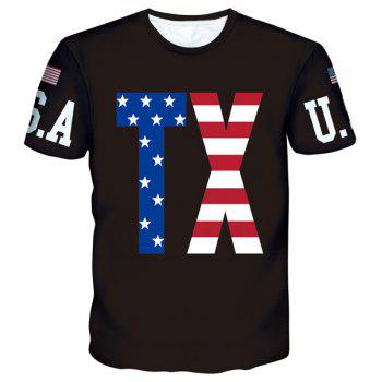 American Flag Letters Print Round Neck Short Sleeves Men's T-Shirt - BLACK BLACK