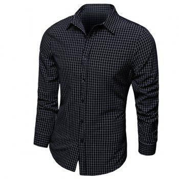 Color Block Checked Turn-down Collar Long Sleeves Men's Shirt
