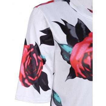 Sexy Women's Stand Collar Short Sleeve Floral Print Bodycon Dress - WHITE S