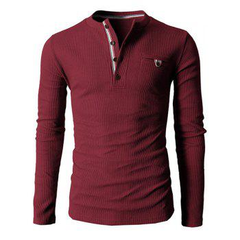 Buy Simple Style Round Neck Exquisite Button Design Long Sleeve Men's T-Shirt WINE RED