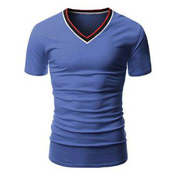 Simple V-Neck Hit Color Spliced Short Sleeve Men's T-Shirt - BLUE BLUE