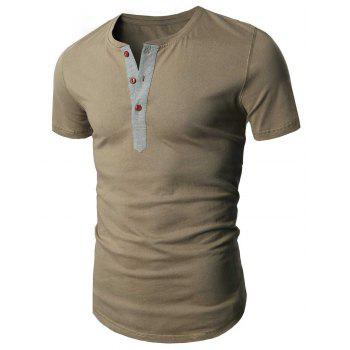 Laconic Round Neck Buttons Design Short Sleeve Men's T-Shirt