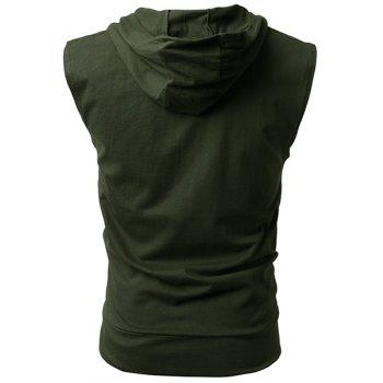 Hooded Solid Color Front Pocket Sleeveless Men's Waistcoat - ARMY GREEN XL
