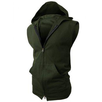 Hooded Solid Color Front Pocket Sleeveless Men's Waistcoat - XL XL