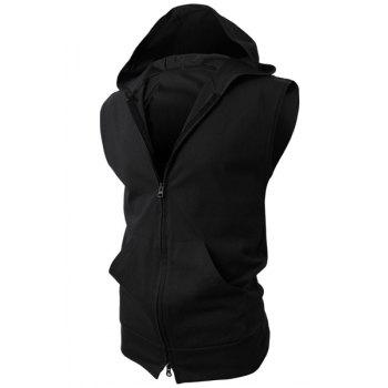 Hooded Solid Color Front Pocket Sleeveless Men's Waistcoat - BLACK BLACK