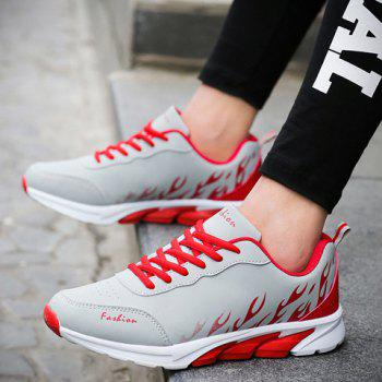 Stylish Flame Print and Lace-Up Design Men's Athletic Shoes - 42 42
