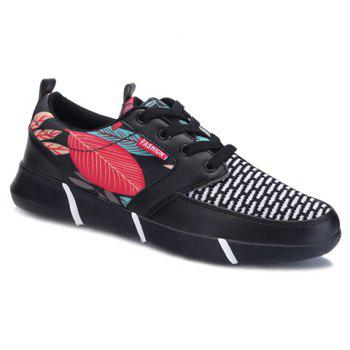 Trendy Splicing and Leaf Pattern Design Men's Athletic Shoes - BLACK 44