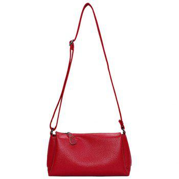 Concise Solid Colour and PU Leather Design Crossbody Bag For Women