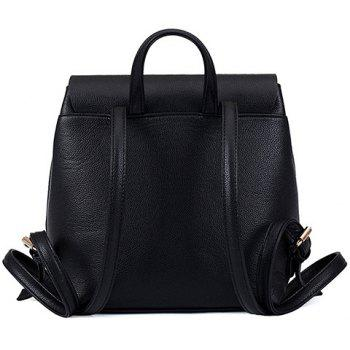 Preppy Style Drawstring and PU Leather Design Backpack For Women - BLACK