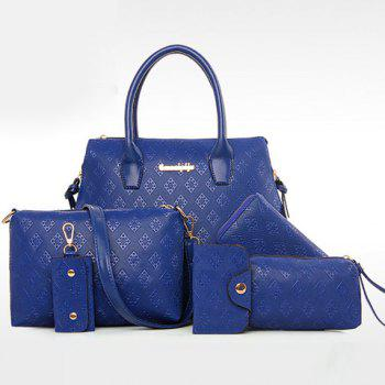 Trendy Metal and Embossing Design Women's Tote Bag - SAPPHIRE BLUE