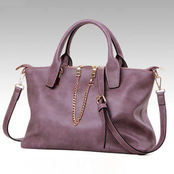 New Arrival PU Leather and Zipper Design Tote Bag For Women - PURPLE