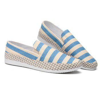 Simple Elastic and Striped Design Men's Casual Shoes - LIGHT BLUE 42