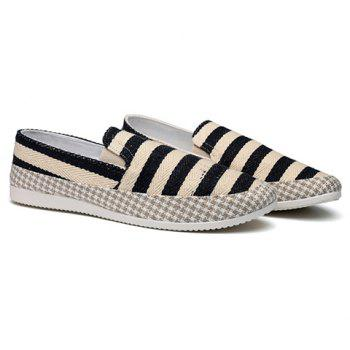 Simple Elastic and Striped Design Men's Casual Shoes - BLACK 44
