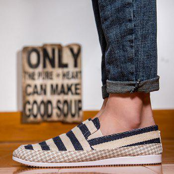 Simple Elastic and Striped Design Men's Casual Shoes - BLACK BLACK