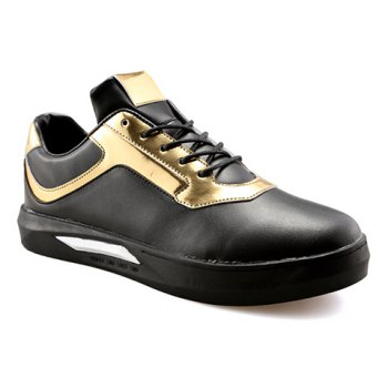 Trendy Colour Block and Lace-Up Design Men's Casual Shoes - BLACK AND GOLDEN BLACK/GOLDEN