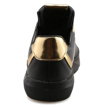 Trendy Colour Block and Lace-Up Design Men's Casual Shoes - BLACK/GOLDEN BLACK/GOLDEN