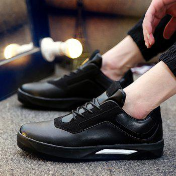 Stylish Splicing and Black Color Design Men's Casual Shoes - BLACK BLACK