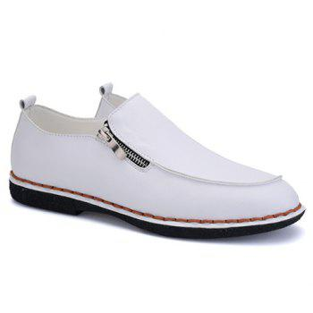 Fashionable Stitching and Zipper Design Men's Casual Shoes - WHITE WHITE