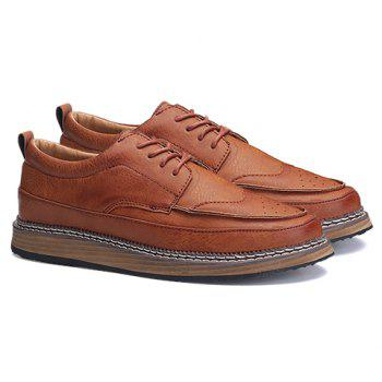 Trendy PU Leather and Solid Colour Design Men's Casual Shoes - BROWN 41