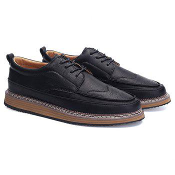 Trendy PU Leather and Solid Colour Design Men's Casual Shoes - BLACK 42