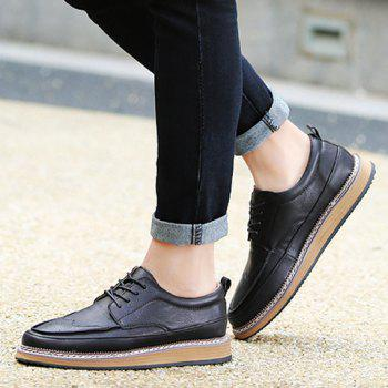 Trendy PU Leather and Solid Colour Design Men's Casual Shoes - 42 42