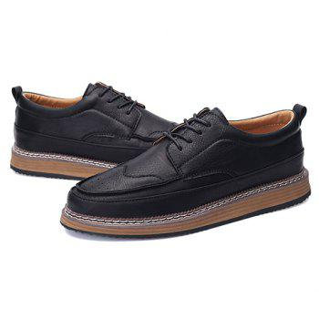 Trendy PU Leather and Solid Colour Design Men's Casual Shoes - BLACK BLACK